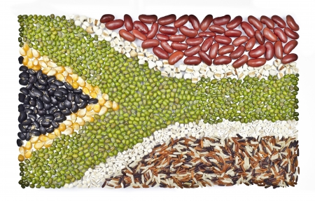 poor health: africa flag  food on white background   Stock Photo