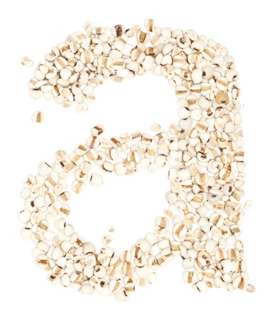 pearl barley: a,Alphabet from Jobs tears on white background.  Stock Photo