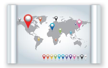 Atlas: Weltkarte mit einem Satz von Pins Pointer Icons. Lizenzfreie Bilder