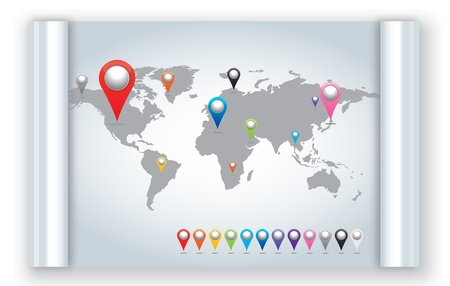 gps map: World map with set of Map Pins Pointer Icons.