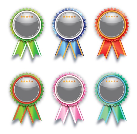 rosettes: Colorful, blank labels on white. Stock Photo