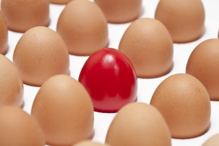close-up, red egg in a row of the brown eggs.