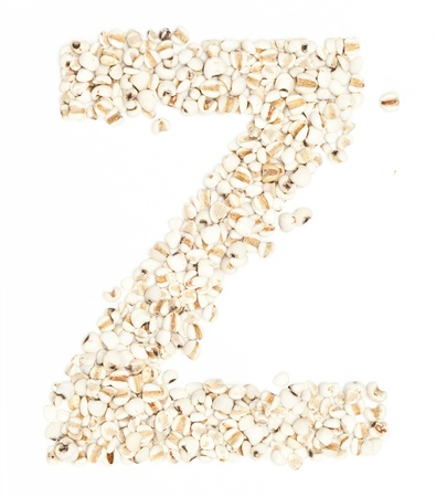 pearl barley: Z,Alphabet from Jobs tears on white background.  Stock Photo