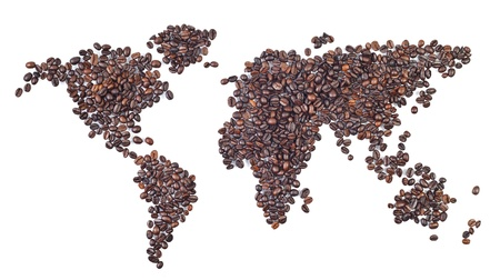 coffee crop: world map made with coffee beans - a world of coffee.  Stock Photo