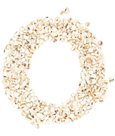 pearl barley: q,Alphabet from Jobs tears on white background.  Stock Photo