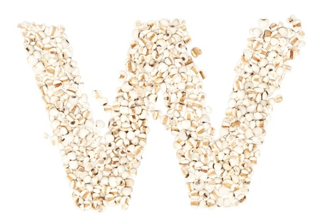 ides: w,Alphabet from Jobs tears on white background.  Stock Photo