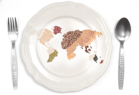 global foods and plate on white background  Stock Photo