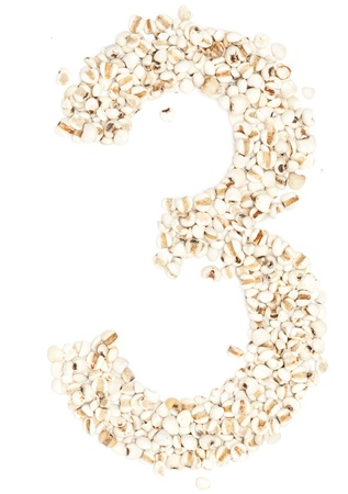 pearl barley: 3 number,from Jobs tears on white background.