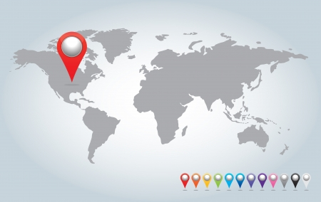 colorful 3d  Pointers and world map. Stock Photo - 15750659