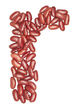 r, Alphabet from red beans. on white.  photo