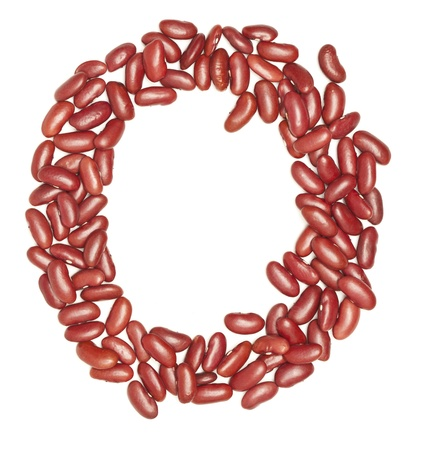 O, Alphabet from red beans. on white.  photo