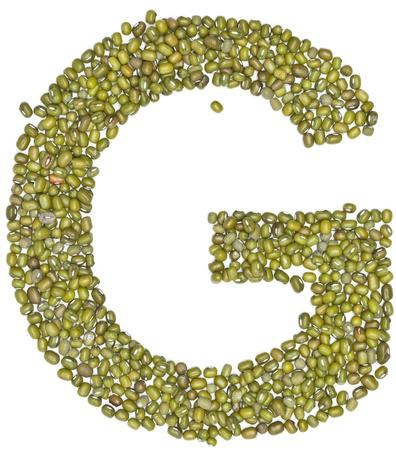 red gram: G,alphabet form green beans on white.