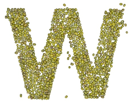 red gram: W, alphabet form green beans on white.