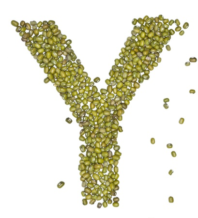 red gram: Y, alphabet form green beans on white.