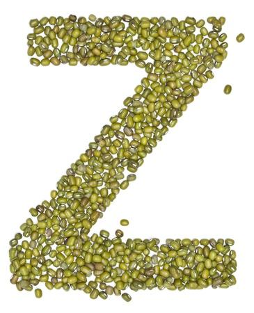 red gram: Z,alphabet form green beans on white.  Stock Photo