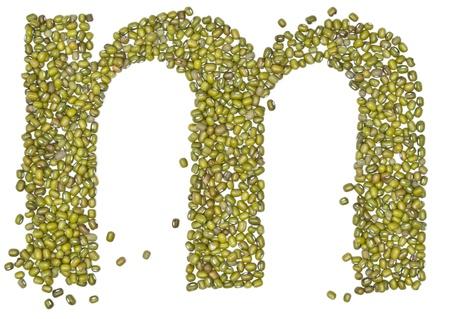 red gram: alphabet form green beans on white.  Stock Photo