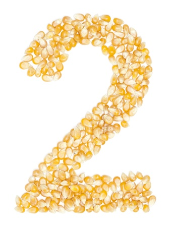 2, number from Organic corn beans dry on white photo