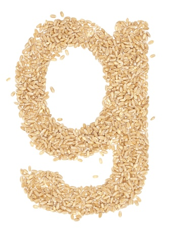 g, Alphabet from dry wheat berries.  photo