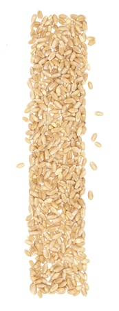 l, Alphabet from dry wheat berries.  photo