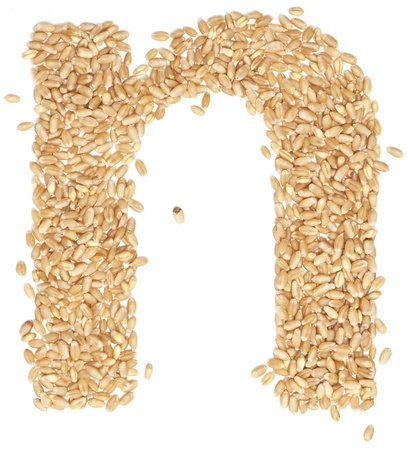ides: n, Alphabet from dry wheat berries.  Stock Photo