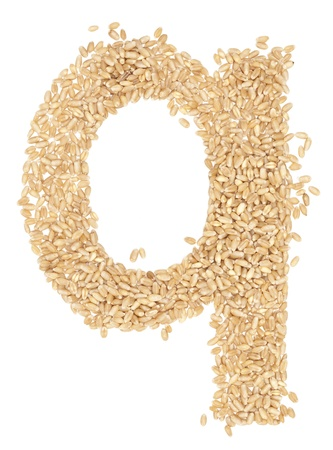 ides: q, Alphabet from dry wheat berries.  Stock Photo