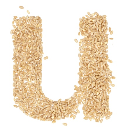 ides: u, Alphabet from dry wheat berries.  Stock Photo