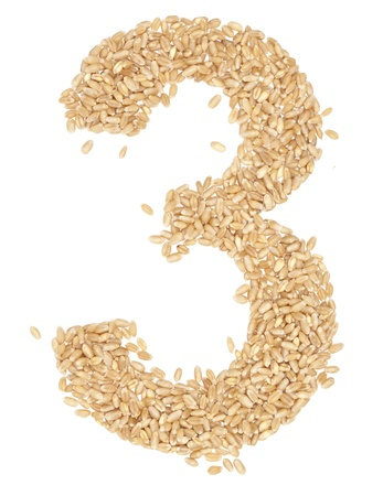 ides: 3 number,from wheat berries. on white.