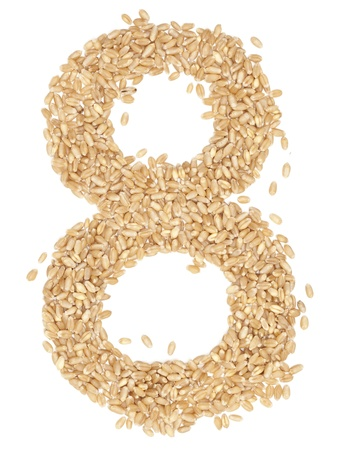 ides: 8 number,from wheat berries. on white.