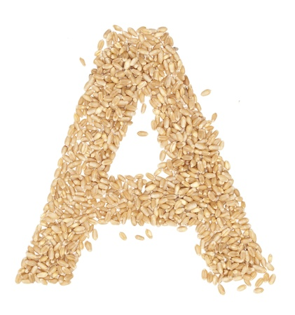 ides: A, Alphabet from dry wheat berries.  Stock Photo