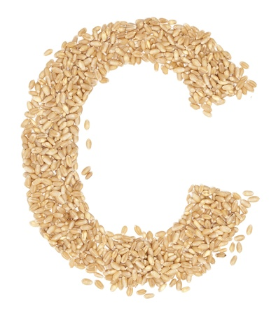 ides: C, Alphabet from dry wheat berries.