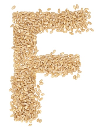 ides: F, Alphabet from dry wheat berries.