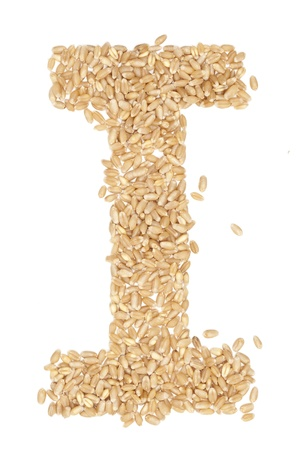 I, Alphabet from dry wheat berries.  photo