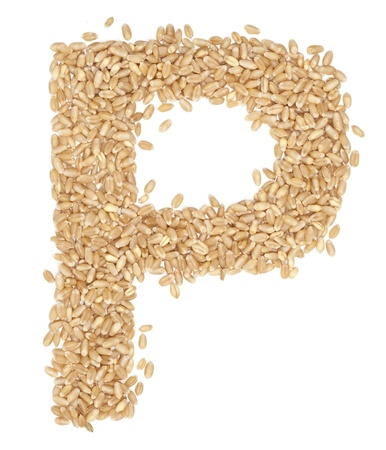 ides: P, Alphabet from dry wheat berries.