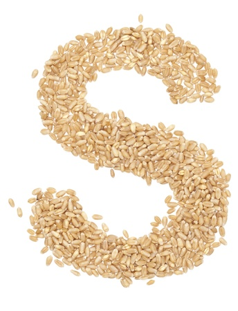 ides: S, Alphabet from dry wheat berries.