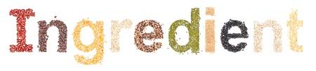 ingradient: ingradient, alphabet dry foods on white background.  Stock Photo