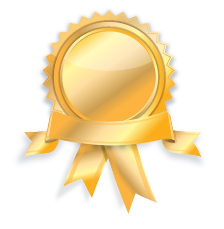 gold button: Blank guarantee certificate on white background.