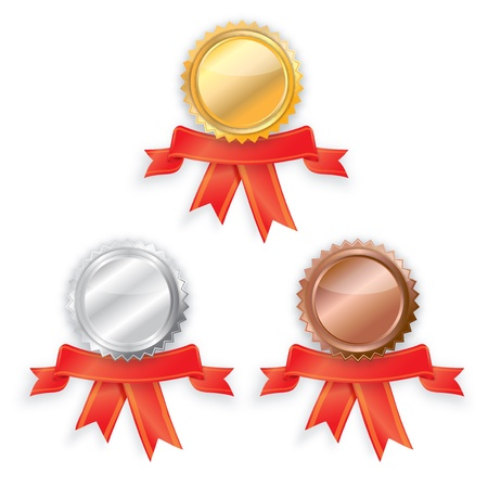 blank Gold, silver and bronze award ribbons. photo