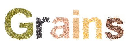 grains, alphabet dry foods on white background.  photo