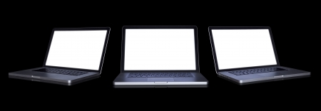 3 empty Laptop on dark background. with path Stock Photo - 15788388