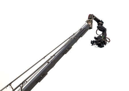 camcorder:  A camcorder on crane  isolated