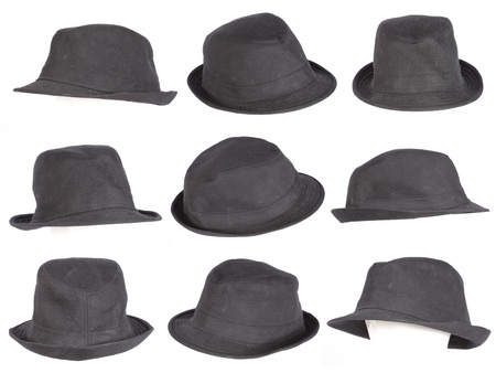 Vintage bowler hat isolated on white photo