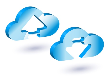 download and upload with cloud. Stock Photo - 17445183