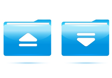 blue folder icons , Upload and download. Stock Photo - 17445155