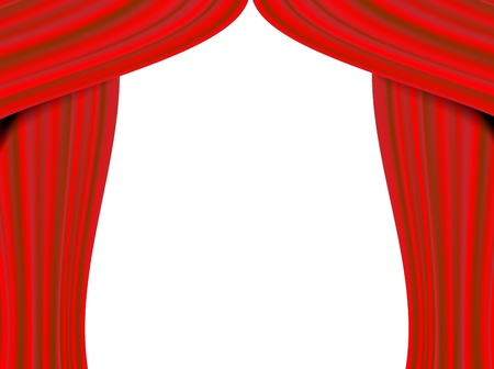 Red theater curtain on white background. photo