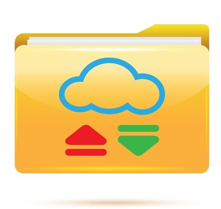 cloud computing concept  and yellow folder Stock Photo - 17445142