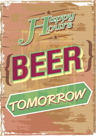 grunge Happy Hour Beer on wood, illustration illustration