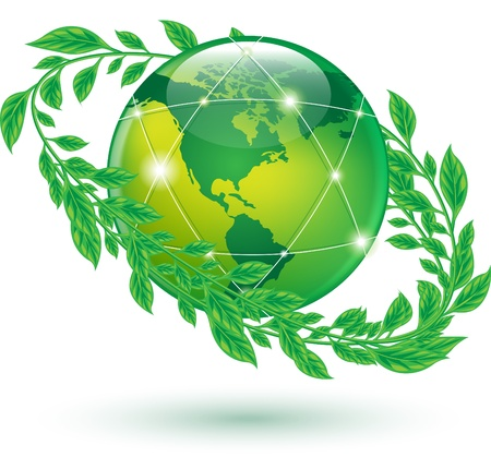 green earth icons on white Stock Photo - 17445222