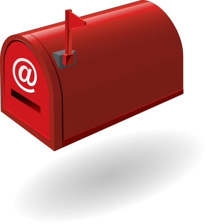 metal mailbox: red mailbox with the flag raised   illustration   Stock Photo
