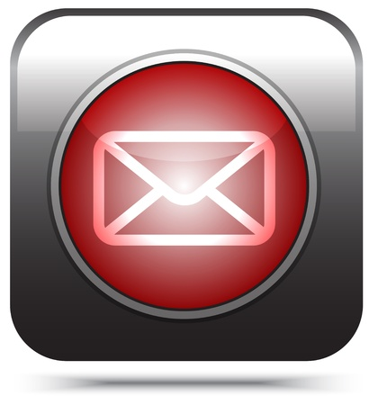red mail icon on white, Stock Photo - 17445188