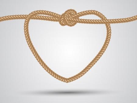 結び目: 白い背景の上ロープのハート